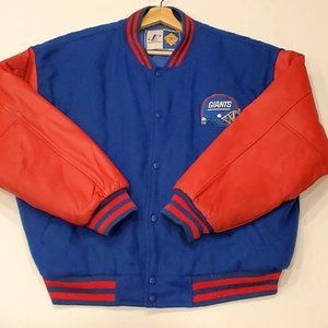 Vtg Ny Giants Wool Leather NFL Letterman Jacket XL